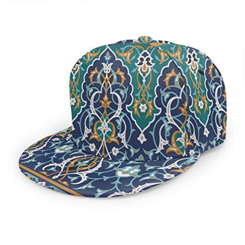 Baseballkappe Marokkanische orientalische Blütenblätter Vintage Snapback Hüte Unisex Trucker Hut Hip Hop Plaid flach verstellbar Baseball Caps Schwarz