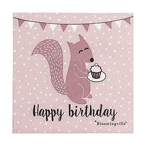 Bloomingville Kinder-Papierservietten in rosa mit Motiv Eichhörnchen