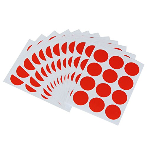 Bluelover 144Pcs 25Mm Rond Couleur Point Blank Prix Stickers Cercle Étiquettes Collantes Vinyle Tour Code Maison Decor-Rouge