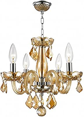 Ciata Décor Modern Premium Grade Lead Amber Crystal Deluxe Raindrop 4 Bulb Chandelier with Solid Brass Frame and Polished Chrome Finish