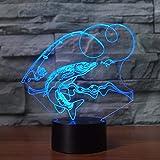 DFDLNL Colorido 3D Fish Shape Led Lámpara de Mesa con USB Power Touch Night Light Linterna Atmósfera BombillaLampe Regalo para niños