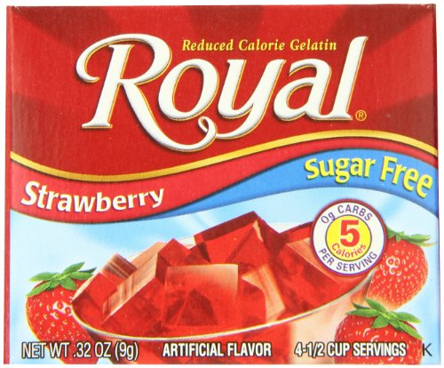Royal Strawberry Gelatin Dessert Mix, Sugar Free and Carb Free (12 - .32oz Boxes)