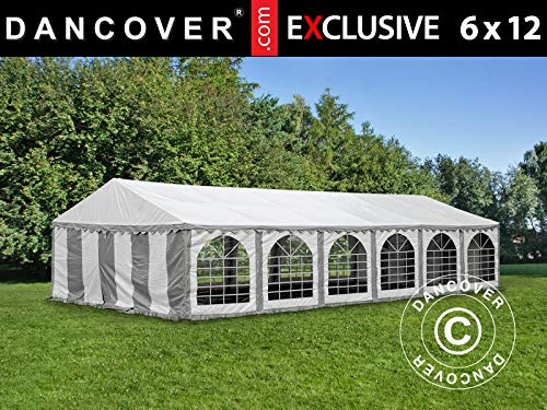 Dancover Partytent Exclusive 6x12m PVC, Grijs/Wit