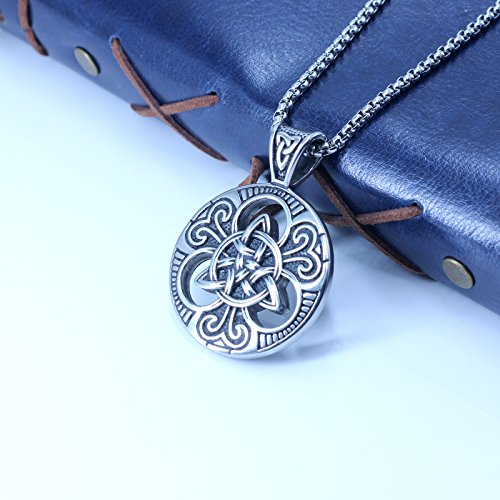 enhong Celtic Knot Necklace for Men,Stainless Steel Magic Double Side Solid Heavy Pendant with Chain 24 Inches