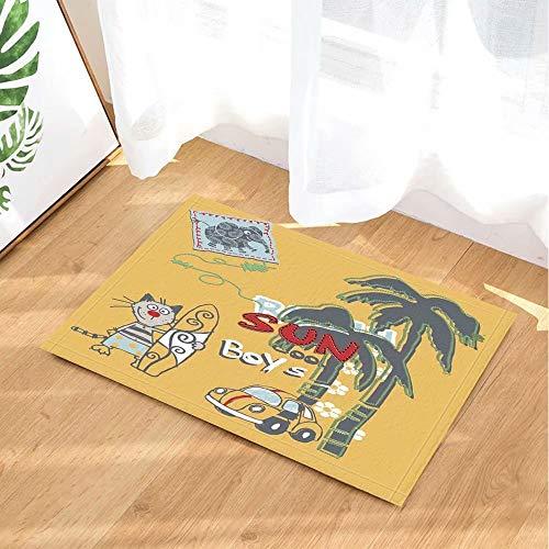 Sun Boy Gracioso Gato Tabla de Surf Gato árbol de Coco Elefante Alfombra de Puerta Antideslizante Alfombra de Puerta de Inodoro Alfombra de baño para niños 50x80cm Accesorios de baño