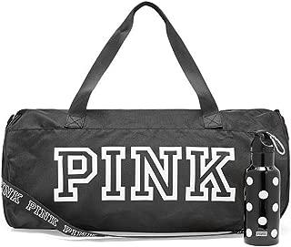 Victoria 's Secret Black duffle bag PINK friday duffel bag with plastic water bottle