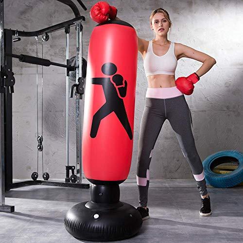 LONEEDY - Saco de boxeo hinchable de pie para adultos y adolescentes, para entrenamiento intenso, gimnasia, deportes, alivio del estrés, ., rojo