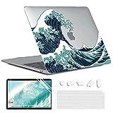 MUSHUI Funda para MacBook Air 13 Pulgadas 2020 2019 2018 M1 A2337 A2179 A1932, Plástico Carcasa Rígida & Cubierta de Teclado & Protector de Pantalla, Olas Japonesas