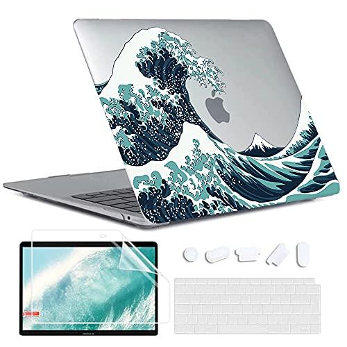 Custodia MacBook Air 13 Pollici 2020 2019 2018 con Touch ID (Modello: A2337 M1/A2179/A1932), Plastica Case Cover Rigida & Tastiera Cover & Proteggi Schermo compatibile con Mac Air 13, Onde Giapponesi
