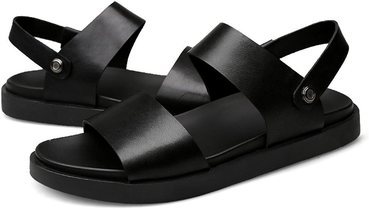 XUJW-Sandals, Men's Summer Matte Genuine Leather Beach Slippers Casual Non-Slip Sole Black Sandals,Perfect for The Beach Or Any Outdoor Scene.