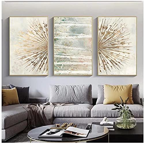 Xuetaozz Línea de lámina dorada abstracta lienzo geométrico cartel arte lienzo pintura sala de estar luz decoración de lujo-50x75cmx3 sin marco