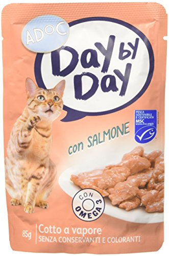 Adoc Day By Day - Alimento Completo per Gatti Adulti con Salmone, 24 bustine da 85gr