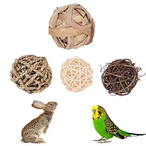 Kaninchen Ball Spielzeug, 4 Teile/Paket Vogel Papageien Kauen Spielzeug Kaninchen Bunny Kinderkrankheiten Behandelt Kleintier Gras Ball Sepak Takraw Spielzeug(Grasball)