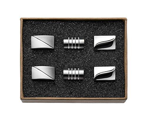 """VALDERO® Herren Manschettenknöpfe – """"Silver Magic Selection"""" in Box (Geschliffen Zylinder Gespiegelt)"""