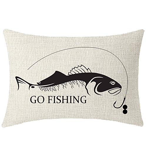 NIDITW Enjoy Holiday Time Explore Gift Go Fishing Cream Lumbar Burlap Pillow Case Cushion Cover for Chair Decorative 12x20 Inch