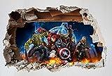 DT cartel 3d agujero de pared Marvel vengadores pared arte pared calcomanías vinilo pared pegatina niños habitación mural cartel adhesivo 100x60cm