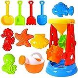Juego de juguetes de arena de playa para niños, portátil de varias formas, juguetes de arena de plástico, carrito de cuatro ruedas, cubo de agua, pala, molde de arena ideal para niños, niños