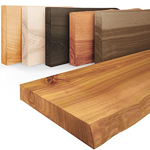 LAMO Manufaktur mensola in legno con bordo naturale modello Pure, senza fissaggio, Rustico 160cm, LW-01-A-003-160