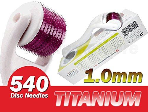 (540agujas) TMT blanco Micro sistema de rodillos de aguja de titanio para las arrugas, Scar, acné, celulitis tratamiento (más eficaz que Regular 192Agujas Derma rodillos)–1,0mm
