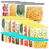 Jagrom 22 Pack Reusable Storage Bags 4 Gallon & 9 Sandwich Lunch Bags & 9 Small Kids Snack Bags For Food, EXTRA THICK Leak Proof Reusable Food Bags, Freezer Bags, Reusable Zipper Bags, BPA FREE