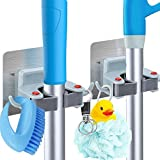 Deetto ABS, PVC and Acrylic Wall Mounted Mop and Broom Hanger Holder Organiser for Kitchen, Bathroom, Garage and Garden ( Set of 2)