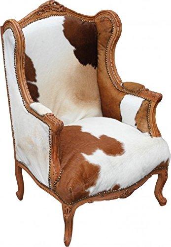 Casa Padrino Barock Ohrensessel Tron Stuhl Kuhfell Mod2 83 x 64 x H. 120 cm - Lounge Thron Sessel