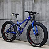 Mens Mountain Bike 26 Zoll Full Suspension Mountain Bikes Fahrrad, Weiche Heckdoppelaufhebung Fat Tire Bike Doppelscheibenbremse, Strand Schnee All Terrain MTB,Blau,26' 24 Speed