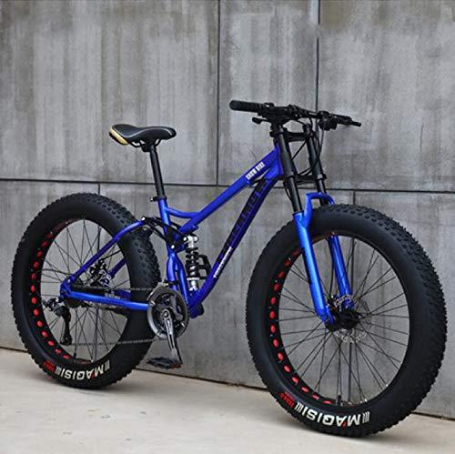 WLWLEO Mens Mountain Bike 26 Inch Full Suspension Mountain Bikes Bicycle, Soft Tail Dual Suspension Fat Tire Bike Double Disc Brake, Beach Snow All Terrain MTB,Blue,26' 21 speed