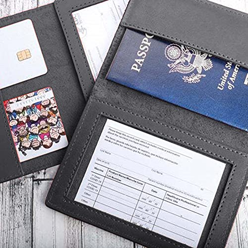New CDC Vaccination Certificate Leather Protective Cover- Multicolor Multifunctional Passport Holder Card Protector -Health Card Waterproof Card Case