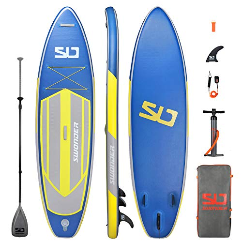 "Swonder Premium Inflatable Stand Up Paddle Board, Durable & Steady, 10'6' Long 32"" Wide 6""Thick, Full SUP Accessories- Paddle 