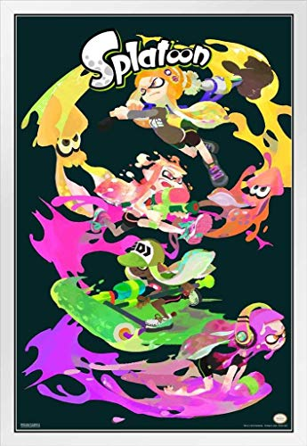 Pyramid America Splatoon Character Stack White Wood Framed Poster 14x20