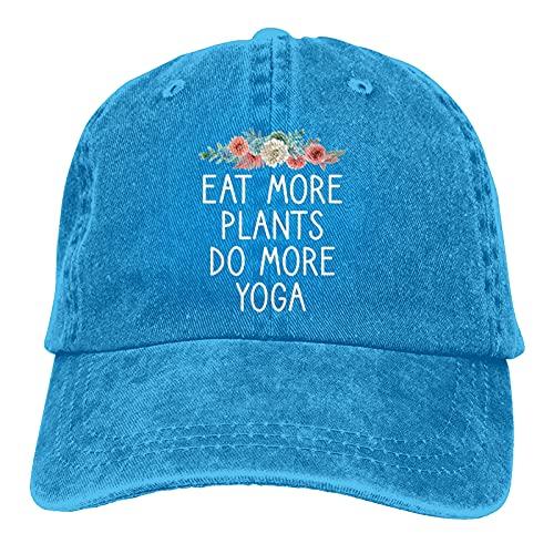 Leumius Eat More Plants Do More Yoga-3 Hats, Gorra de béisbol ajustable de algodón lavable para papá,...