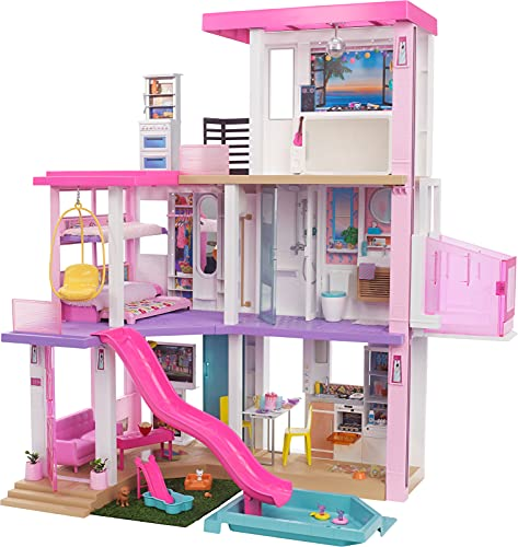 Barbie Dreamhouse (3.75-ft) 3-Story Dollhouse Playset with Pool & Slide, Party Room, Elevator, Puppy Play Area, Customizable Lights & Sounds, 75+ Pieces, Gift for 3 to 7 Year Olds, New for 2021