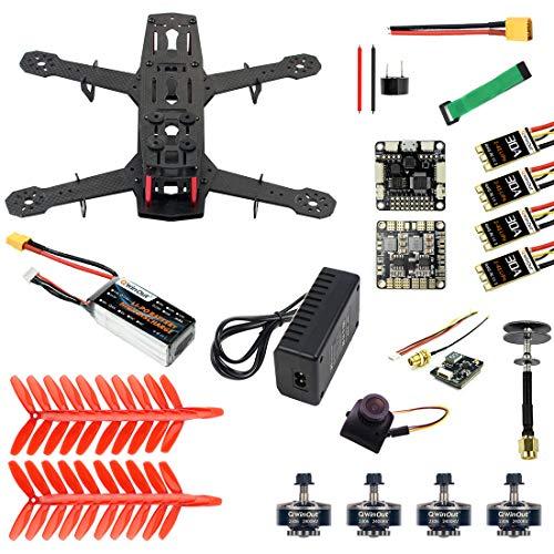 QWinOut Q250 Full Set DIY FPV Drone Camera Quadcopter 250MM Carbon Fiber Frame F3 FC Flycolor Raptor BLS Pro-30A ESC 700TVL Camera FS I6 (No TX & RX)