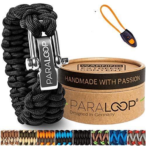 PARALOOP® ORIGINAL Paracord Armband für Männer + Anhänger mit Signalpfeife in Handarbeit geflochten mit Geschenkbox Verschluss aus Edelstahl Armbänder Herren Schwarz