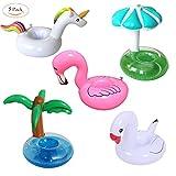 GuassLee 5 Pack Große Aufblasbare Getränkehalter PVC Einhorn Flamingo Palme Pilz Weißer Schwan Aufpumpen Schwimmende Getränke Untersetzer Becherhalter für Pool Party