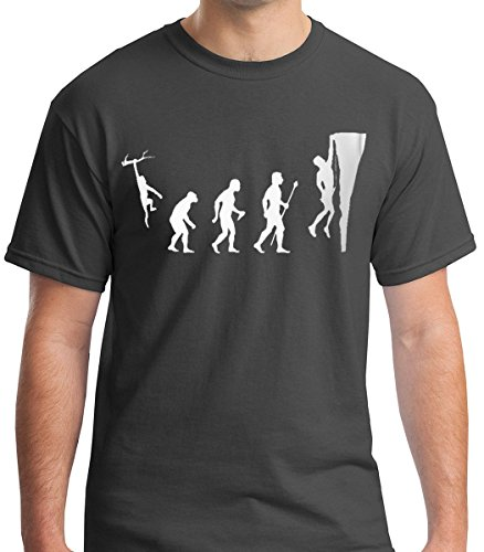 FNB Fashion Climbing Evolution -Extreme Sport Rock Climbing Premium Men's T-Shirt (Medium, Charcoal)