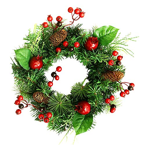 Bayda Christmas Wreath Berry Wreath Floral Front Door Rustic Wreath Flocked with Mixed Decorations Christmas Decorations