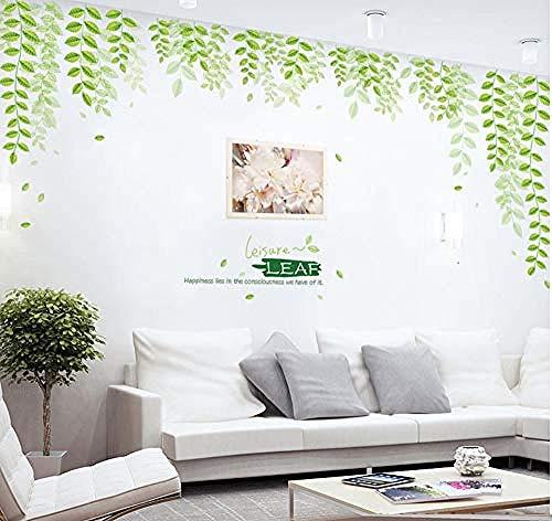 Adhesivos De Pared Bedom wallpaper Hoja Verde Vida Dormitorio Creativo Sala De Estar Sofá Fondo Pegatinas De Pared Tienda Personalizada Decoración De La Pared Mural Grande