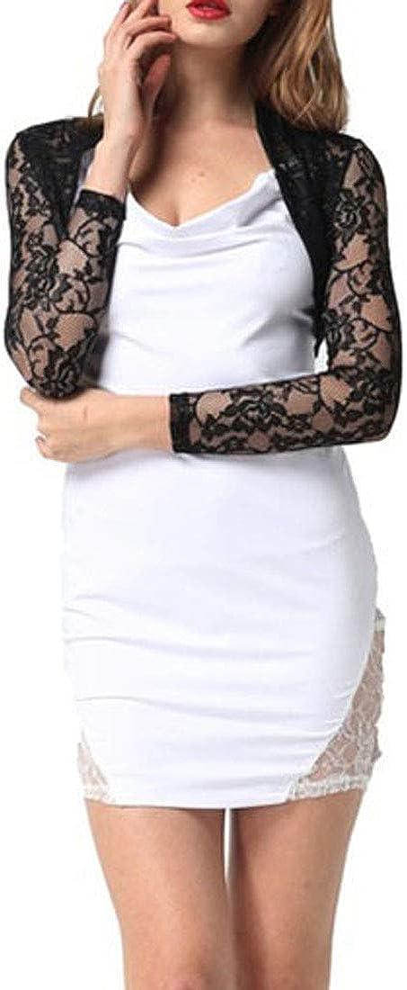 XTX Womens Lace Open Front Solid Color Cropped Plus Size Shawl Cardigans Shrugs Bolero Cardigan Black 4XL