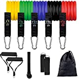 Resistance Exercise Bands Set for Men, 11 Pack Gym Bands Stackable up to 150 LBS with Door Anchor, Handles, Legs Ankle Straps for Fitness Training/Physical Therapy/Pilates/Yoga/Home Workouts