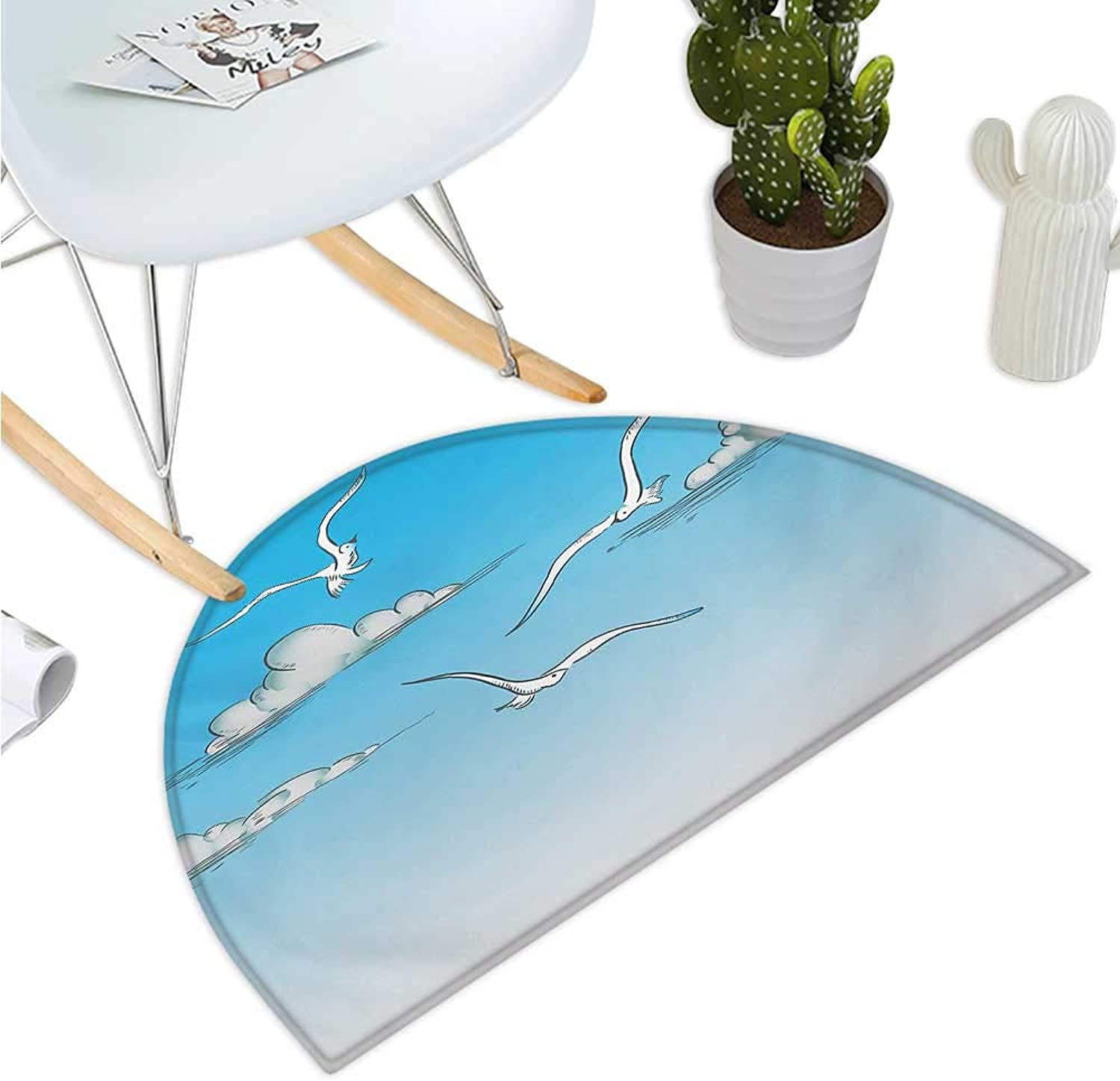 Seagulls Semicircle Doormat Seagulls Flying in an Ombre Sky Background with Clouds Minimalistic Sketch Drawing Entry Door Mat H 35.4  xD 53.1  White bluee