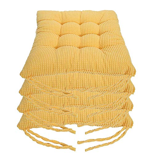 XNDCYX Chair Pad Cushion Outdoor, Wicker Seat Cushions Thickened Soft Corduroy Cotton Filled Seat Cushions, for Kitchen Dining Chairs Patio Cushion, Solid Color, 40X40 cm,Yellow,4pack