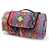 NUONASHEN Beach Blanket Tote Extra Large Waterproof Sandproof, Boho Outdoor Park Picnic Blankets Mat for Family Friends, 59 X 79 Feet