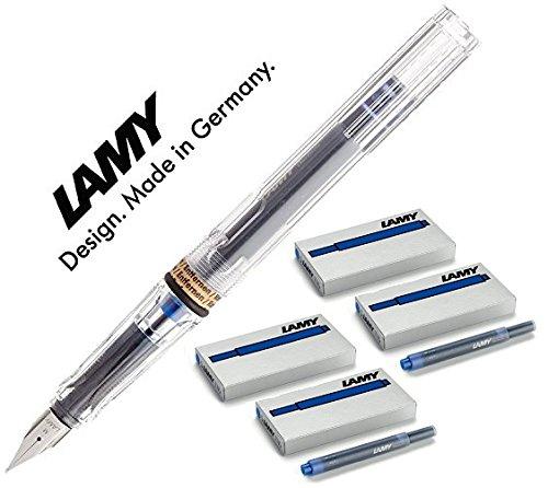 LAMY Füller SAFARI Füllhalter / Viele schöne Farben, auch im Set mit 20 Tintenpatronen in blau (Maxi mit 20 blauen Patronen, Transparent/Vista (M)12)