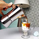 JSL Cocina de acero inoxidable para cafetera de café Latte Mocha para oficina en casa, cafetera de gas y inducción 540 ml