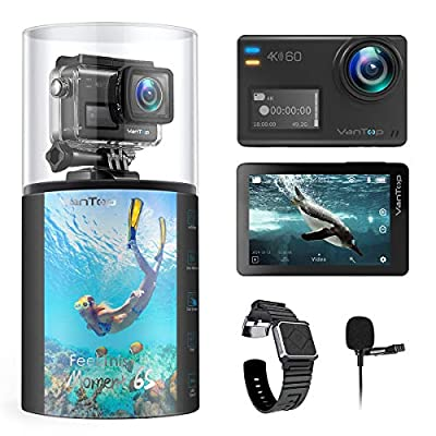 VanTop Moment 6S 4K/60FPS Action Camera with EIS, Dual Screen, External Microphone, 8X Slow Motion/Digital Zoom, 5G WiFi, 30M Waterproof Underwater Camera w/Gopro Compatible Accessories, 2 Batteries from VanTop