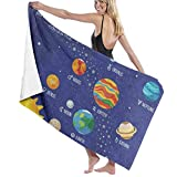 xcvgcxcvasda Serviette de Bain, Solar System Sun Planets Personalized Custom Women Men Quick Dry Lightweight Beach & Bath Blanket Great for Beach Trips, Pool, Swimming and Camping 31'x51'