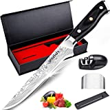 "MOSFiATA 6"" Boning Knife, Super Sharp Kitchen Cooking Knife with Finger Guard and Knife Sharpener, German High Carbon Stainless Steel EN1.4116 Chef's Knife with Micarta Handle and Gift Box"