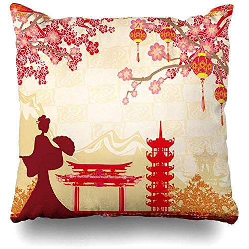 Throw Pillow Cover Cushion Case Geisha Arch Abstract Asian Girl Blossom Buddhism Cherry Design Home Decor Design Square 20x20 Inch Zippered
